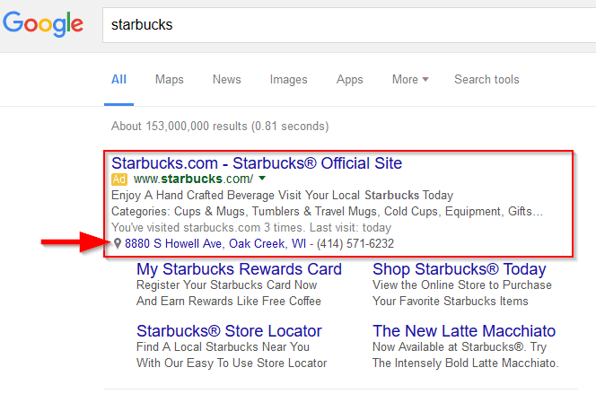Starbucks Paid Ad Location Extension