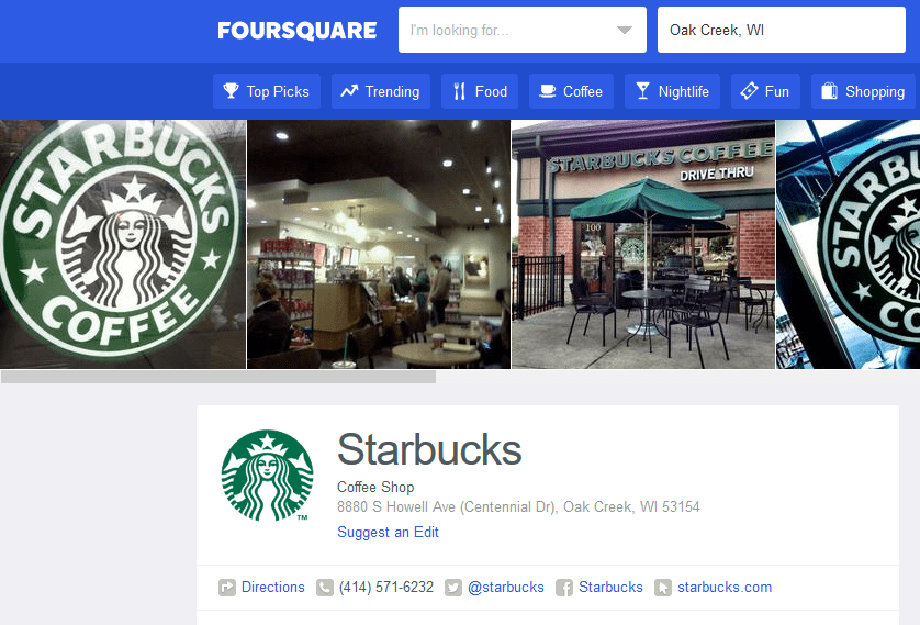 Starbucks on Foursquare