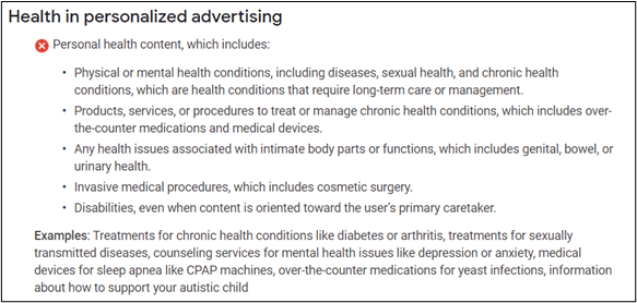 health in personalized advertising